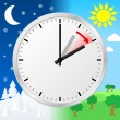 Stok Vektör: Time change to daylight saving time