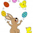 Easter bunny juggling with easter eggs and a chick — Stock Vector