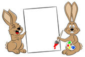 Two easter bunnies with a sign — Vetorial Stock