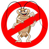 Cockroache warning sign — Stock Vector