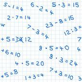 Seamless pattern of mathematics homework on checkered paper — Stock Vector