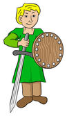 Squire with sword and shield — Stock Vector