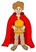 Écuyer avec cape rouge — Vecteur