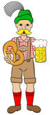 Oktoberfest man with beer and pretzel — Stock Vector