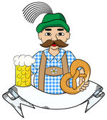 Oktoberfest man with beer,  pretzel and banner — Stock Vector