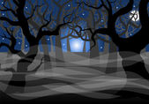 Dark ghostly forest and full moon  — Stock Vector