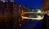 Christmas bridge in Girona — Stock Photo