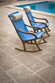 Blue empty chairs — Stock Photo