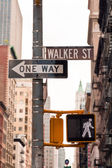 Señales de calle soho en nueva york, estados unidos — Foto de Stock