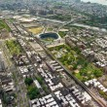 Aerial view of Manhattan and George Washington bridge, New York — Stock Photo
