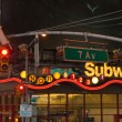 Times Square subway entrance at night — Stock Photo