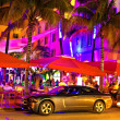 Ocean Drive scene at night lights, Miami beach, Florida. — Stock Photo