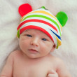 Little baby naked with funny hat — Stock Photo