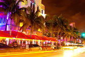 Ocean Drive scene at night lights, Miami beach, Florida, USA — Stock Photo