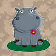 Funny hippopotamus with flower. — Stock Vector
