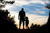 Father and daughter silhouette — Stock Photo