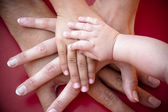 Family hands on team — Stock Photo