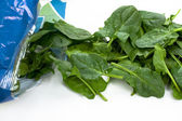 Fresh spinach out of the plastic package. — Stock Photo