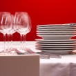 Setting table for six — Stock Photo