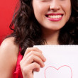 Beautiful Girl With a Heart Drawing — Stock Photo