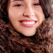 Close up of a Beautiful Woman with Fur Coat — Stock Photo