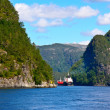 Ship in Bergen fjord — Stock Photo
