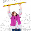 Laughing little girl holding a big pencil — Stock Photo