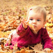 Baby catching a yellow leaf — Stock fotografie