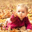 Baby catching a yellow leaf — Stockfoto