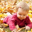 Happy baby playing with leaves — Stock Photo