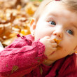 Baby girl eating autumn leaves — Stock Photo