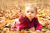 Baby catching a yellow leaf — Stock Photo