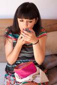 Young beautiful woman applying lipstick — Stock Photo