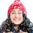 Snowfall over the girl — Stock Photo