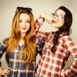 Постер, плакат: Funny hipster girls making faces