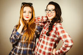 Funny hipster girls portrait — Stock Photo
