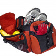 Gym Bag - Loaded and Ready for Health and Fitness Workout, Isolated - Stock Photo