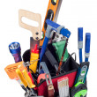 Tool Box stuffed with Variety of Hand Tools - Stock Photo