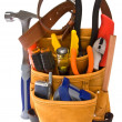 Carpenter Tool Belt and Tools - Stock Photo