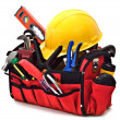 Toolbox with Carpenter Hand Tools - Stock Photo