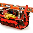 Construction Worker Toolbox with Carpenter Hand Tools - Stock Photo