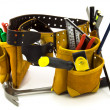 Carpenter Tool Belt and Tools Isolated on White - Stock Photo