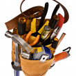 Carpenter or Electrician Tool Bag Stuffed with Professional - Tools Isolated on White - Stock Photo
