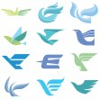 Birds - 12 Logo Signs — Stock Vector