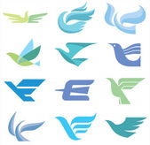 Birds - 12 Logo Signs — Stockvector