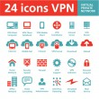 Vector 24 Icons VPN (Virtual Private Network) — Stock Vector
