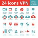 Vector 24 Icons VPN (Virtual Private Network) — Stock Vector