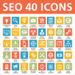 40 Vector Icons - SEO (Search Engine Optimization) — Stockvectorbeeld