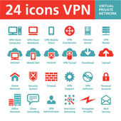 Vector 24 Icons VPN (Virtual Private Network) — Vettoriale Stock