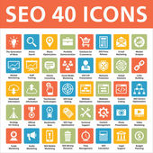 40 Vector Icons - SEO (Search Engine Optimization) — Cтоковый вектор